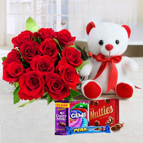 Chcolates with Red Roses N Teddy Combo