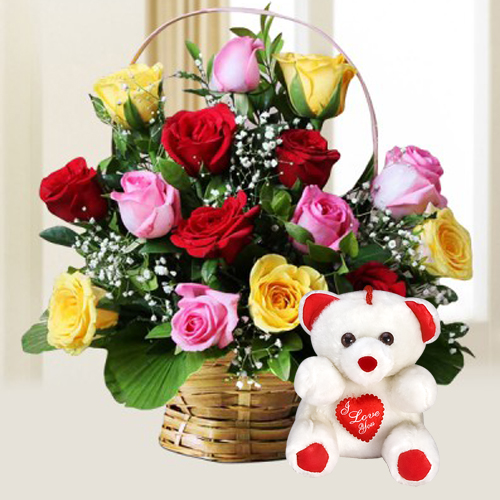Teddy Bear N Assorted Roses Arrangement