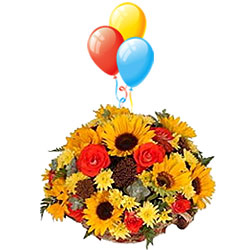 Assorted Flower Bouquet with Balloons