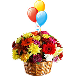 Balloons N Flowers Arranged in a Basket