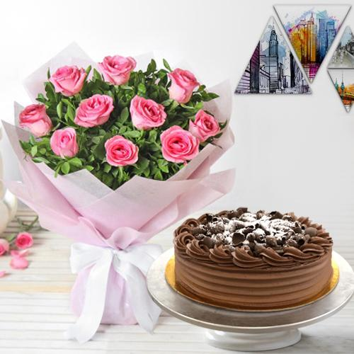 Magical 10 Pink Roses and 1/2 Kg Eggless Chocolate Cake