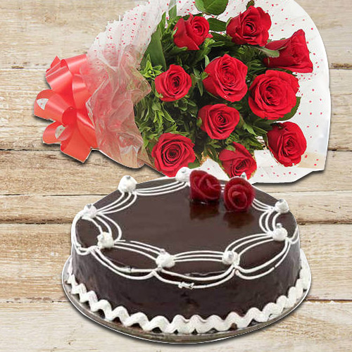 Divine 10 Red Roses with 1/2 Kg Chocolate Cake