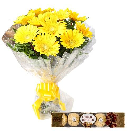 Yellow Gerberas Bunch with Ferrero Rocher Chocolates