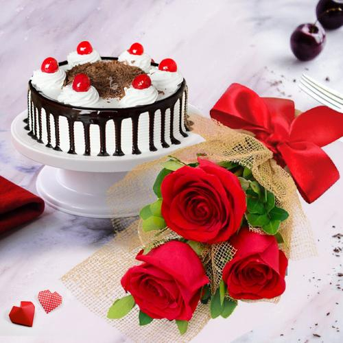 Pristine Red Roses with Black Forest Cake