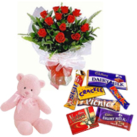 Teddy with Cadbury Celebrations N Red Rose Bouquet