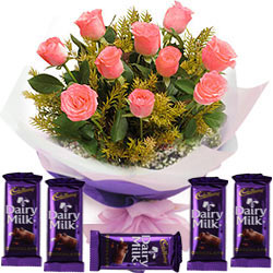 Cadbury Dairy Milk Chocos N Pink Roses Bunch