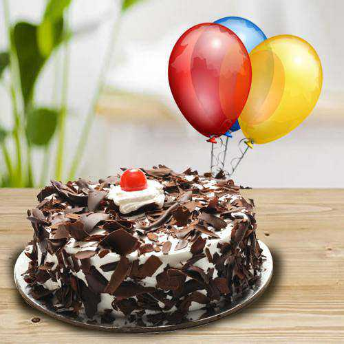 Tasty Black Forest Cake with Balloons