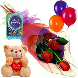 Chocolates with Teddy, Roses N Balloons