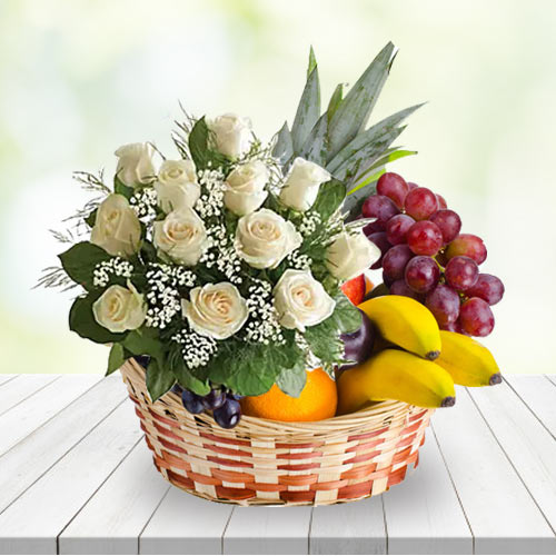 Pretty Basket of White Roses N Fruits