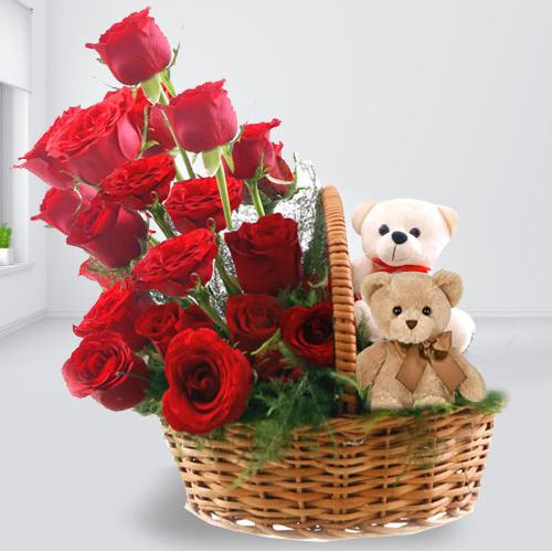 Dual Teddies with Red Roses Basket Arrangement