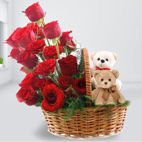 Dual Teddies with Red Roses Basket Arrangement