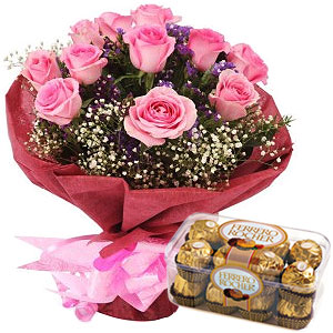 Ferrero Rocher Chocolates N Pink Roses Bouquet