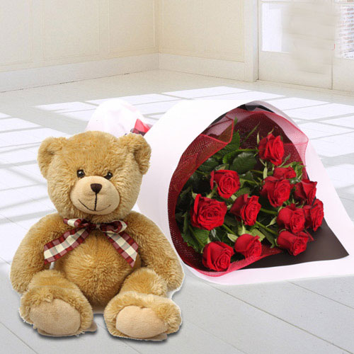 Red Roses Bunch N Teddy