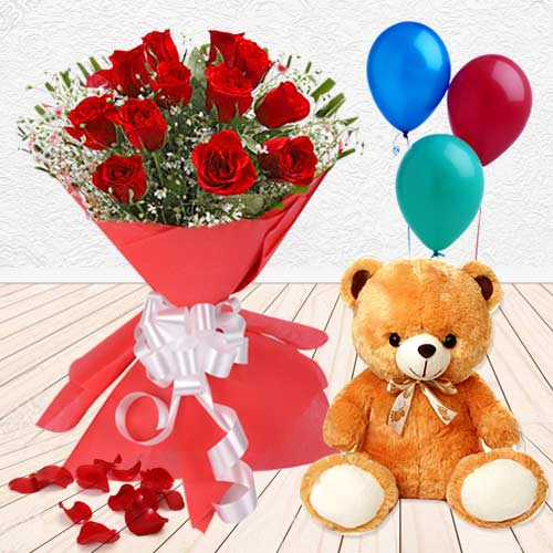 Teddy with Balloons N Red Roses