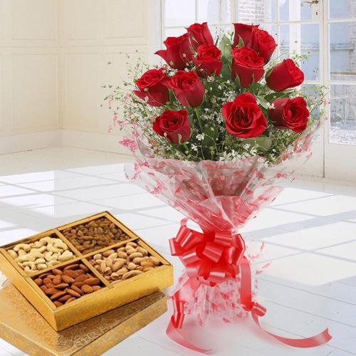Mixed Dry Fruits N Red Roses Bunch