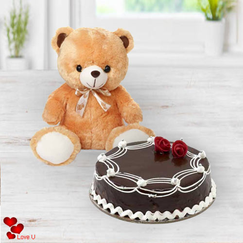 Special Teddy Day Gift of Soft Brown Teddy with Chocolate Cake