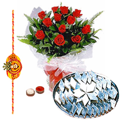 Delightful Set of Rakhi with Kaju Katli and Roses