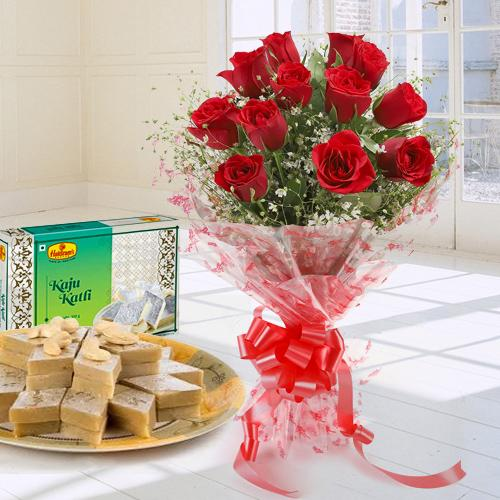 Enchanted Bouquet Made of Twelve Red Roses with Kaju Katli 250 Gms.