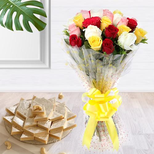 Beautiful 2 Dozen Mixed Roses Bouquet with 1 Kg. Kaju Barfi Delight