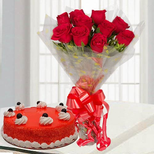 Brilliant Red Rose Bouquet with Red Velvet Cake