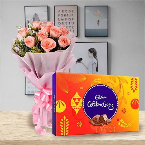 Bright Birth-Day Combo of Pink Rose and Cadbury Celebration