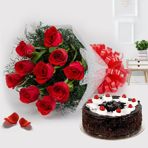 Black Forest Cake N Red Rose Bouquet