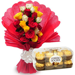 Delectable Ferrero Rocher Chocolates with Mixed Roses Bouquet