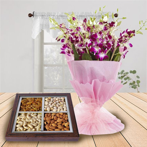 Stunning Combo of Orchids Bouquet and Dry Fruits Tray