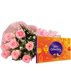 Yummy Cadbury Celebration N Pink Rose Bouquet