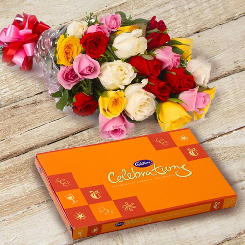 Anniversary Stunning Combo of Mixed Roses N Cadbury Celebration