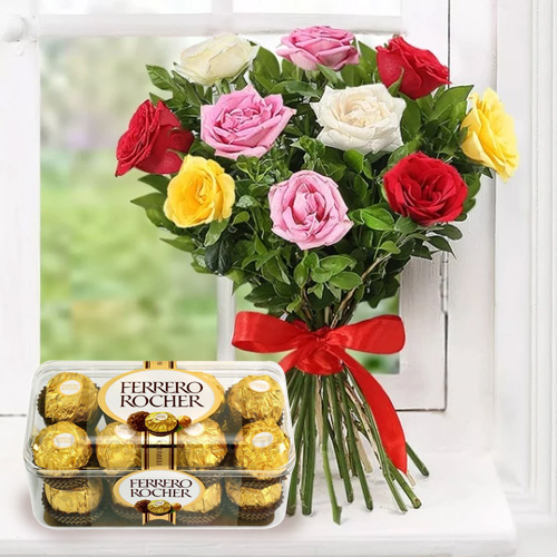 Anniversary Blooming Mixed Roses with Enjoyable Ferrero Rocher