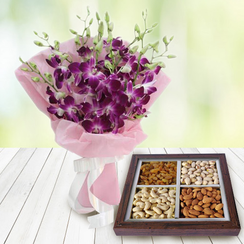 Radiant Orchids Bouquet with Dry Fruits