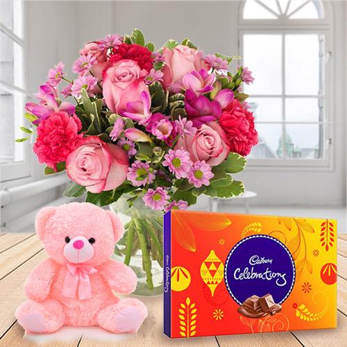 Delicious Cadbury Celebration, Mixed Flower N Teddy
