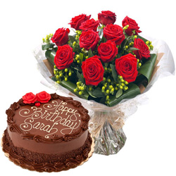 Anniversary Memorable Combo of Chocolate Cake N Red Rose Bouquet