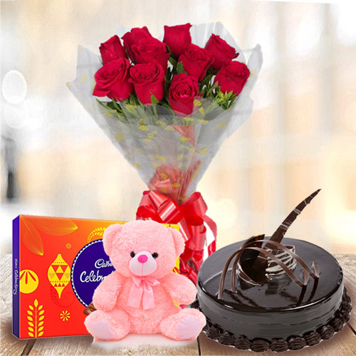 Delightful Anniversary Arrangement of Red Rose Bouquet, Chocolate Cake, Small Teddy with Cadbury Celebration