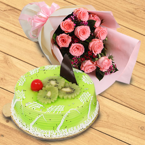 Yummy Kiwi Cake with Red Roses Bouquet