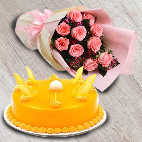 Pleasant Mango Flavour Cake with Red Roses Bouquet