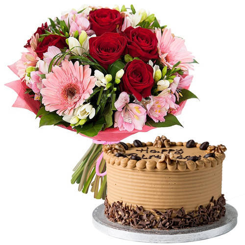 Hand-Arranged Mixed Flowers Bouquet with Coffee Cake