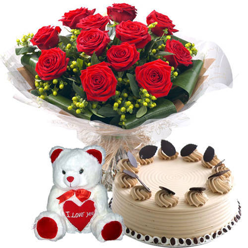 Radiant Selection of Red Roses Bouquet with Coffee Cake N Teddy