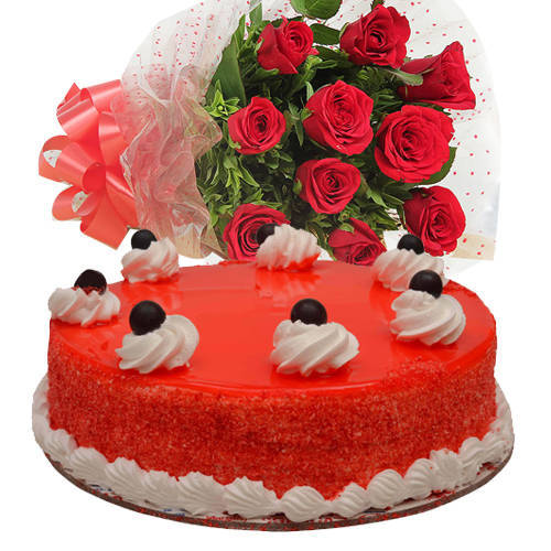 Abundant Gift of Red Roses Bouquet with Red Velvet Cake
