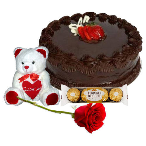 Radiant Red Rose with Chocolate Cake, Ferrero Rocher N Teddy
