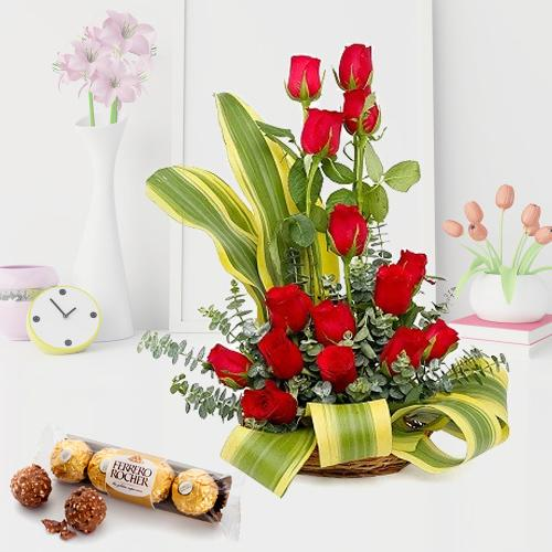 Striking Arrangement of Red Roses with Ferrero Rocher
