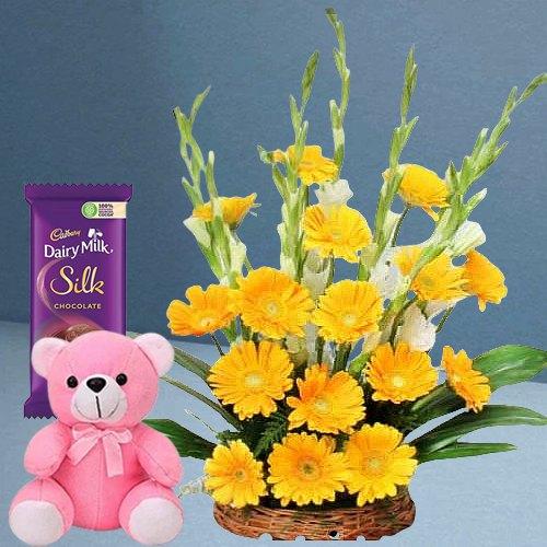 Graceful Yellow Gerberas Arrangement with Teddy N Dairy Milk Silk