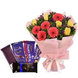 Colorful Mixed Flowers Bouquet with Assorted Cadbury Chocolates