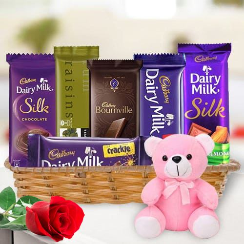 Marvelous Gift Hamper of Chocolates N Teddy with Single Red Rose