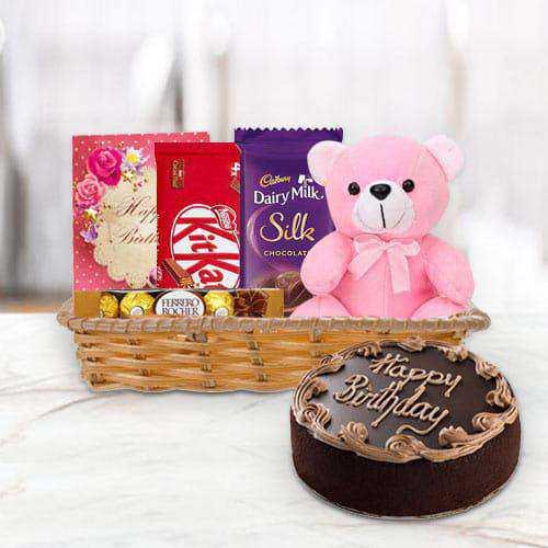 Gift Hamper of Birthday Gifts N Chocolate Cake