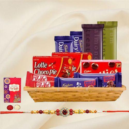 Gift Hamper of Tasty Chocolate with 1 Rakhi, Roli, Tilak and Chawal