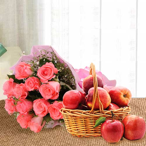 Fresh Apples in Basket with Pink Rose Bouquet