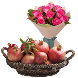 Colorful Pink Roses Bouquet with Fresh Pomegranates Basket