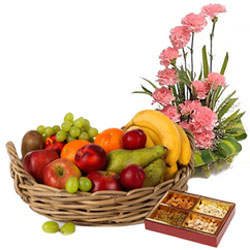 Selection of Pink Carnations Basket with Assorted Dry Fruits and Fresh Fruits Basket